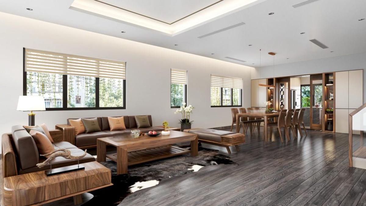 Sofa gỗ  tạo hình chữ L cho phòng khách sang trọng, hiện đại
