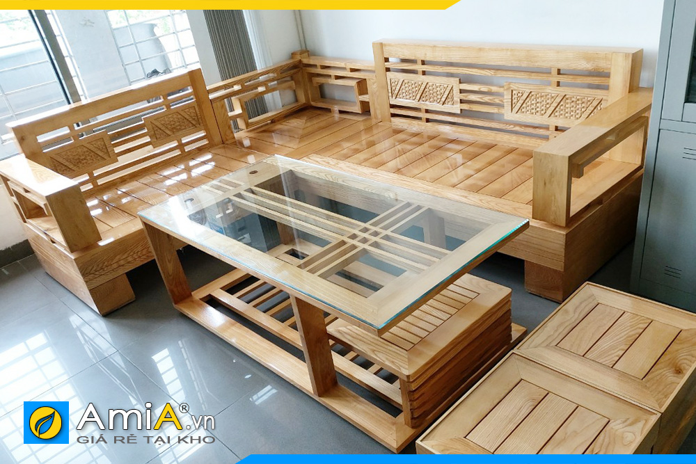 sofa góc gỗ tự nhiên