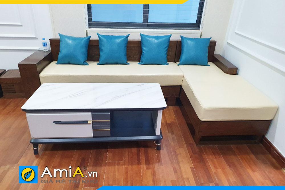 sofa góc gỗ sồi đẹp
