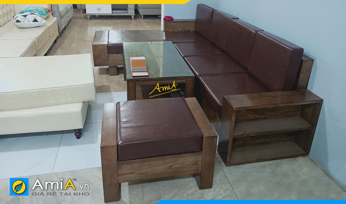 Sofa gỗ Sồi nhuộm màu Óc chó bọc da nâu đẹp