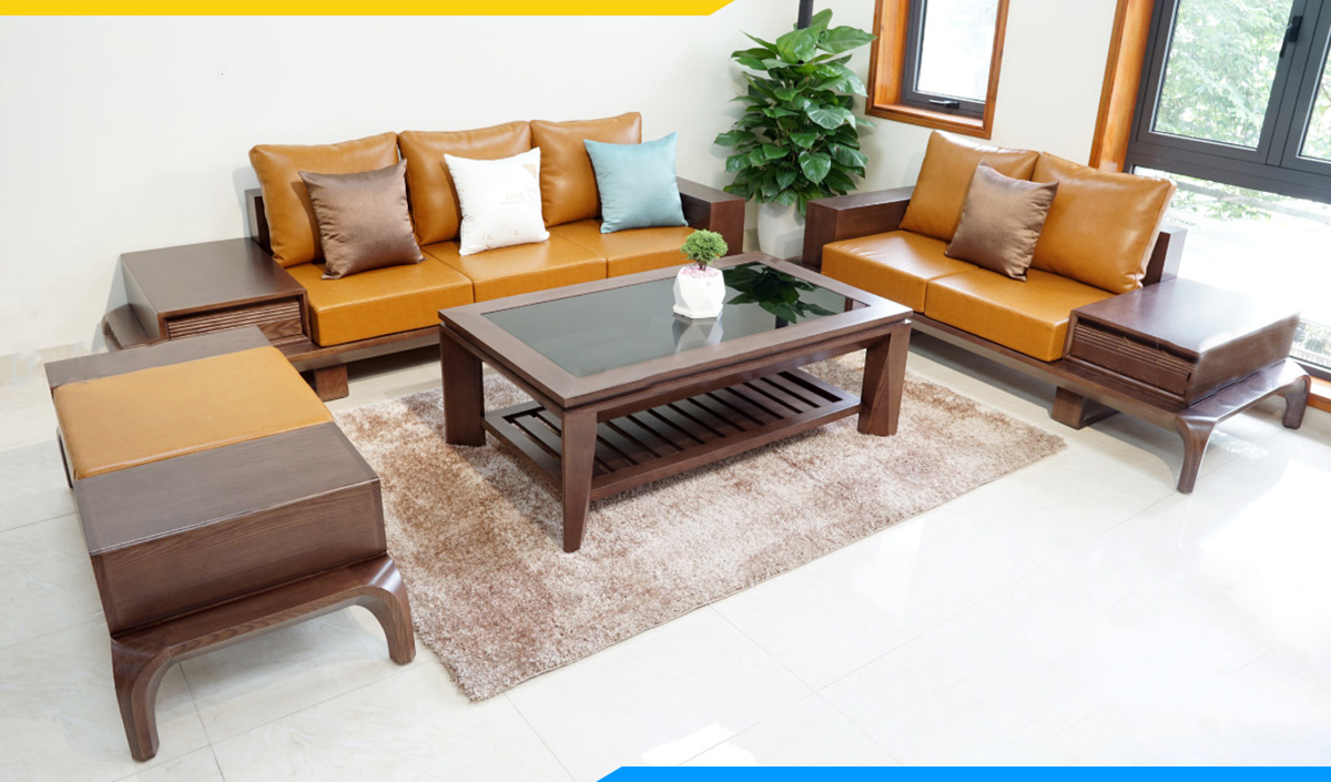 Bộ ghế sofa gỗ Sồi đệm da màu nâu sang trọng, thanh lịch cho phòng làm việc riêng