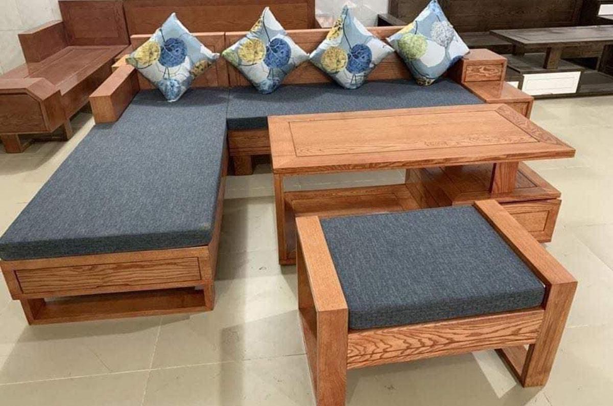 bàn ghế gỗ phòng khách thêm đệm lót ghế lịch sự