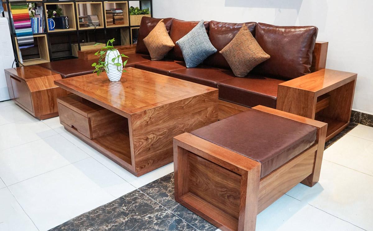 Sofa gỗ góc chữ L kê phòng khách đẹp