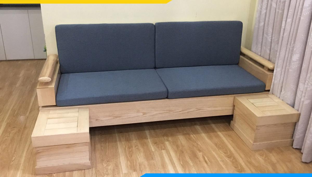 Sofa gỗ dạng văng tay trứng mini nhỏ xinh 2 chỗ ngồi nệm nỉ màu xanh