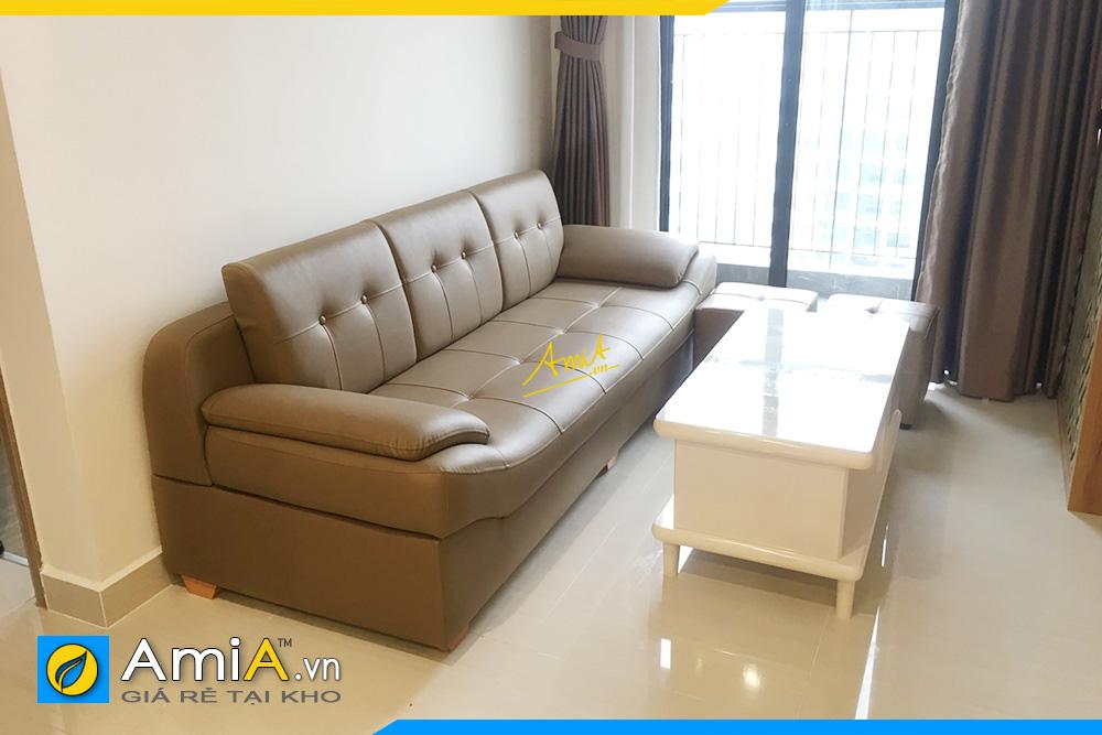 Hình ảnh Sofa văng da đẹp kê phòng khách chung cư hiện đại