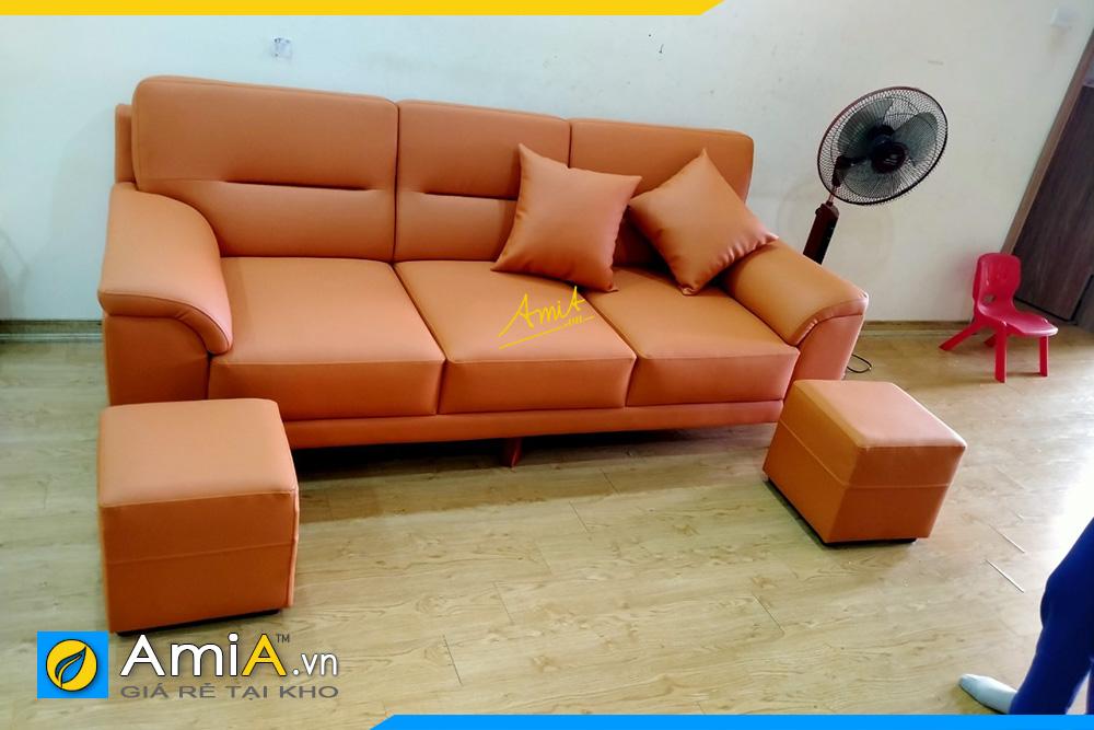 hình ảnh sofa văng da màu cam đẹp