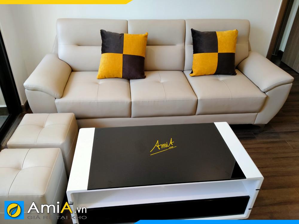sofa văng bọc da màu trắng đẹp