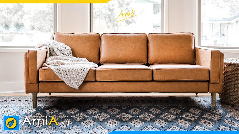 sofa văng bọc da màu nâu bò