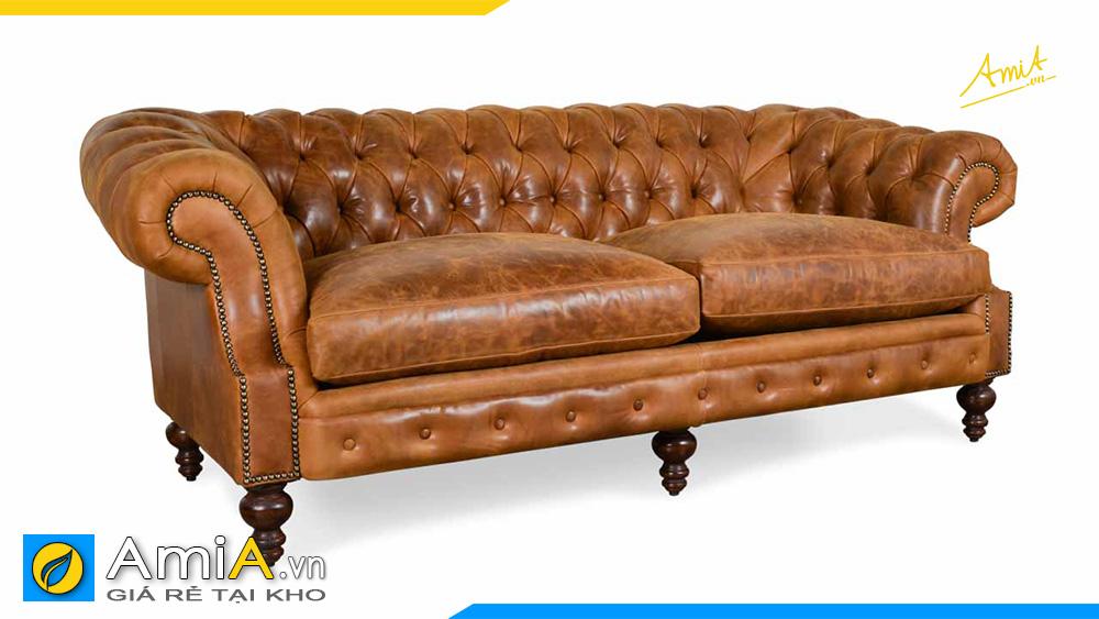 sofa văng kiểu dáng tân cổ điển chất liệu da