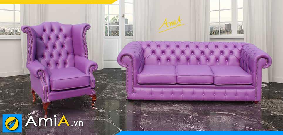 mẫu sofa văng kiểu dáng tân cổ điển chất liệu da công nghiệp