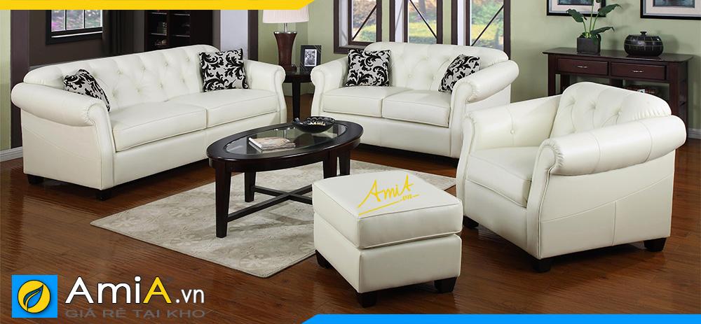 những bộ sofa văng da màu trắng đẹp cho phòng khách