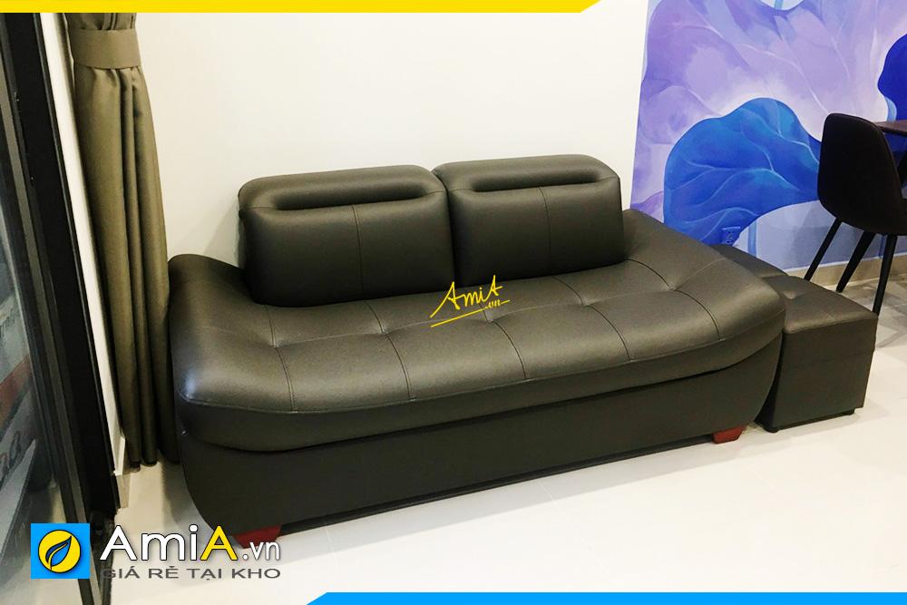 Hình ảnh Sofa văng da màu đen đẹp thiết kế 2 chỗ không tay vịn