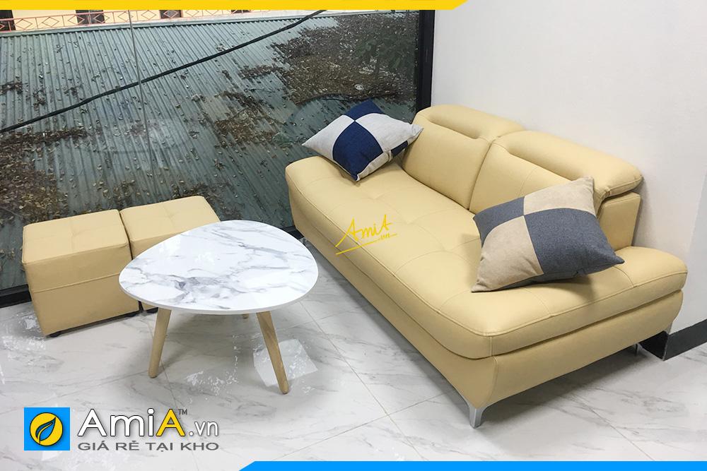 Hình ảnh Sofa văng đẹp 2 chỗ nhỏ xinh chất liệu da hiện đại