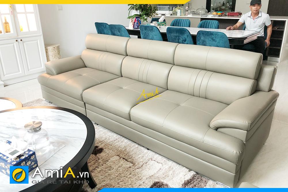 Hình ảnh Sofa văng đẹp chất liệu da 3 chỗ hiện đại cho phòng khách