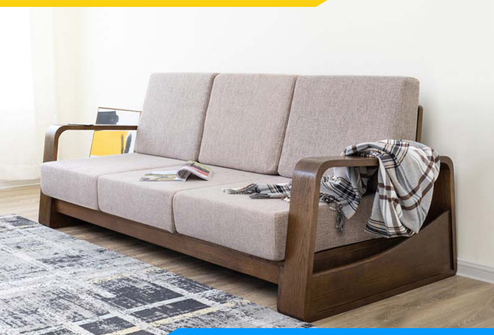 Sofa văng gỗ hiện đại 3 chỗ ngồi