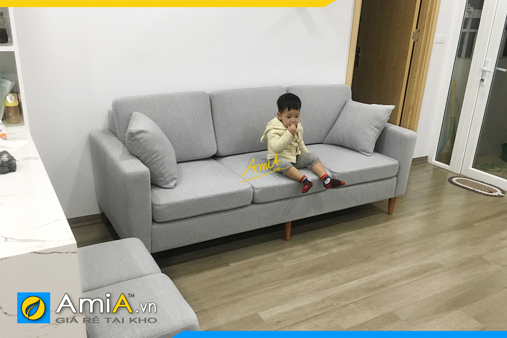 Hình ảnh Sofa văng nỉ đẹp 3 chỗ kê phòng khách chung cư nhỏ xinh