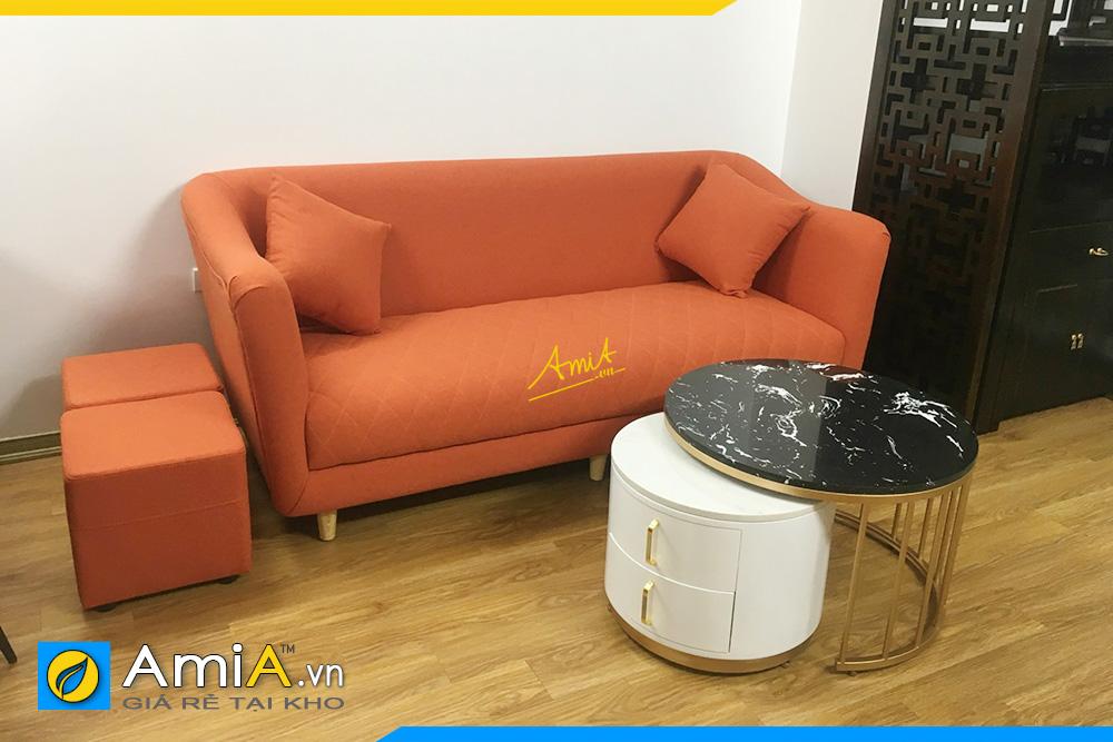 Hình ảnh Sofa văng nỉ màu cam đẹp hiện đại kê phòng khách nhỏ
