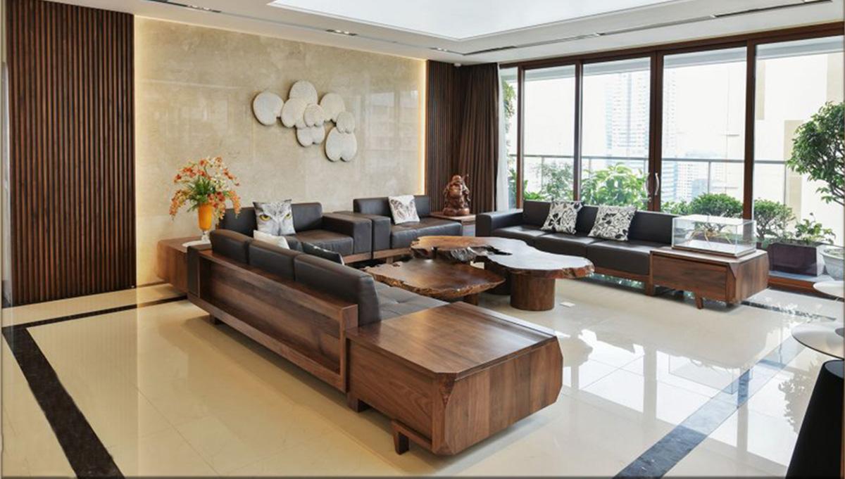 Hình ảnh bộ sofa gỗ Óc chó kích thước lớn thoải mái chỗ ngồi khi có đông khách
