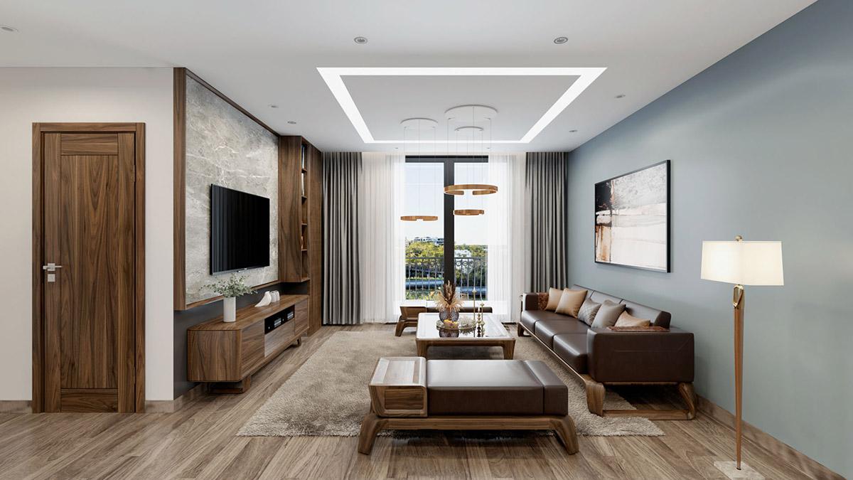Thiết kế sofa gỗ phòng khách đẹp gồm 1 văng và 2 ghế đôn