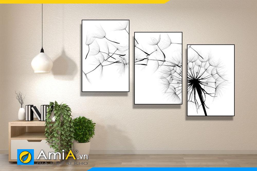 Tranh bộ canvas hoa bồ công anh treo tường phòng khách AmiA 1867