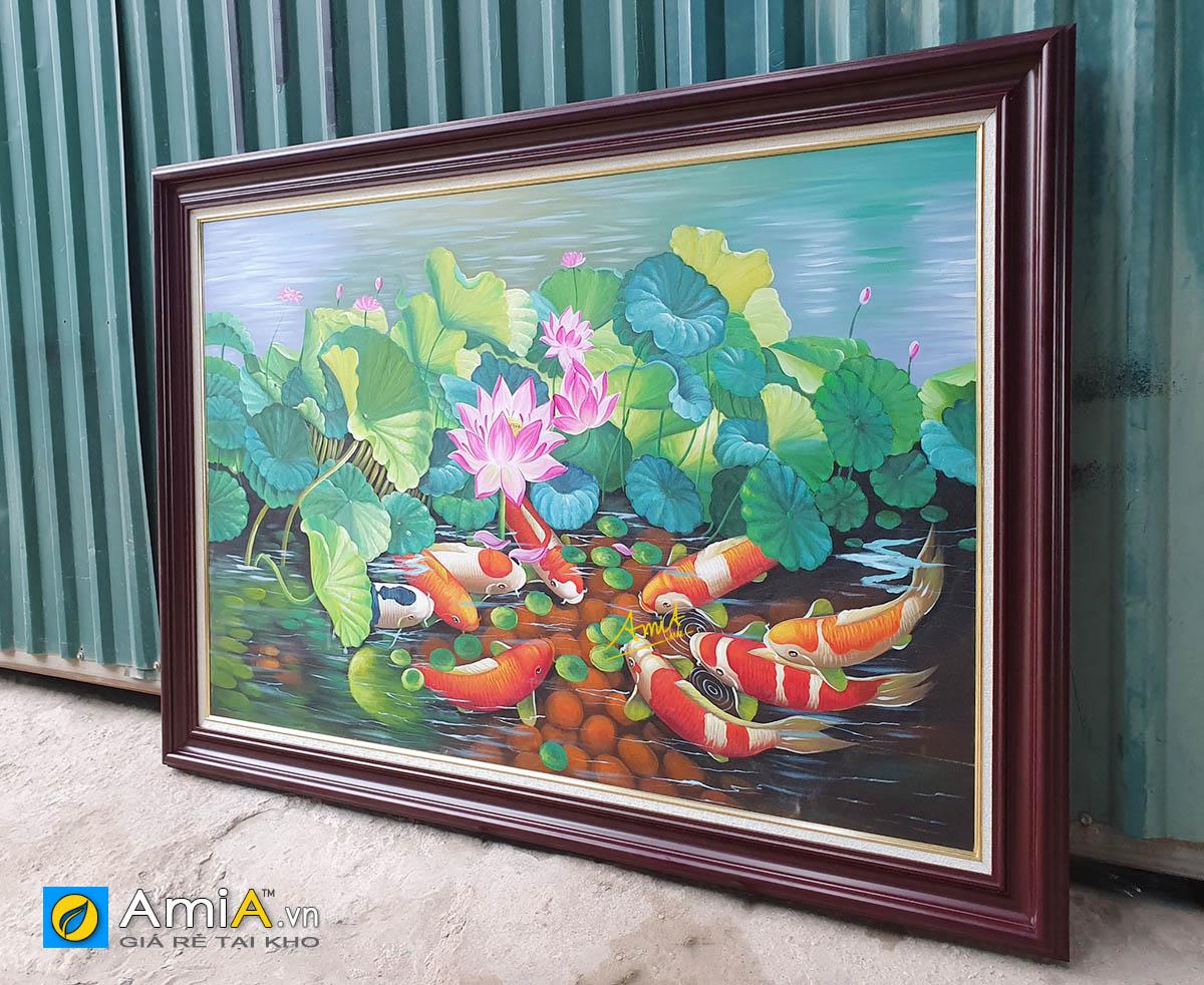 Hình ảnh Tranh cá chép hoa sen khổ lớn treo tường đẹp ý nghĩa TSD 216