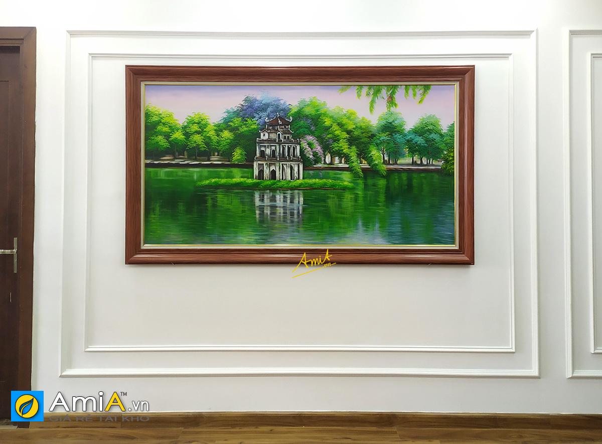 Hình ảnh Tranh chủ đề Hồ Gươm khổ lớn treo tường phòng khách biệt thự mã tsd 556