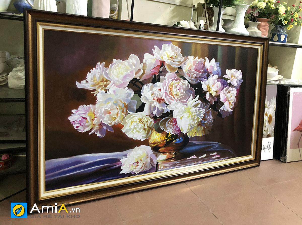 Hình ảnh Tranh cỡ lớn hoa mẫu đơn đặt vẽ theo yêu cầu tại AmiA TSD MD001