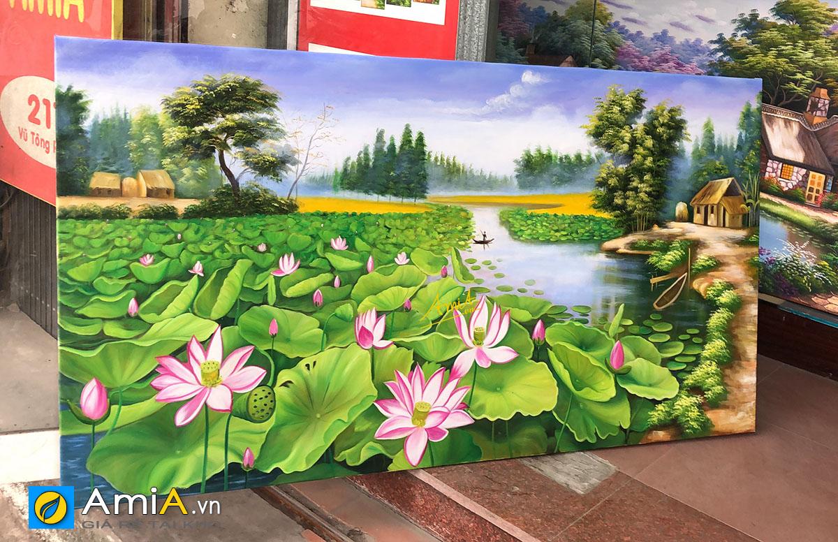 Hình ảnh Tranh hồ sen vẽ sơn dầu khổ lớn đẹp treo tường mã TSD 432