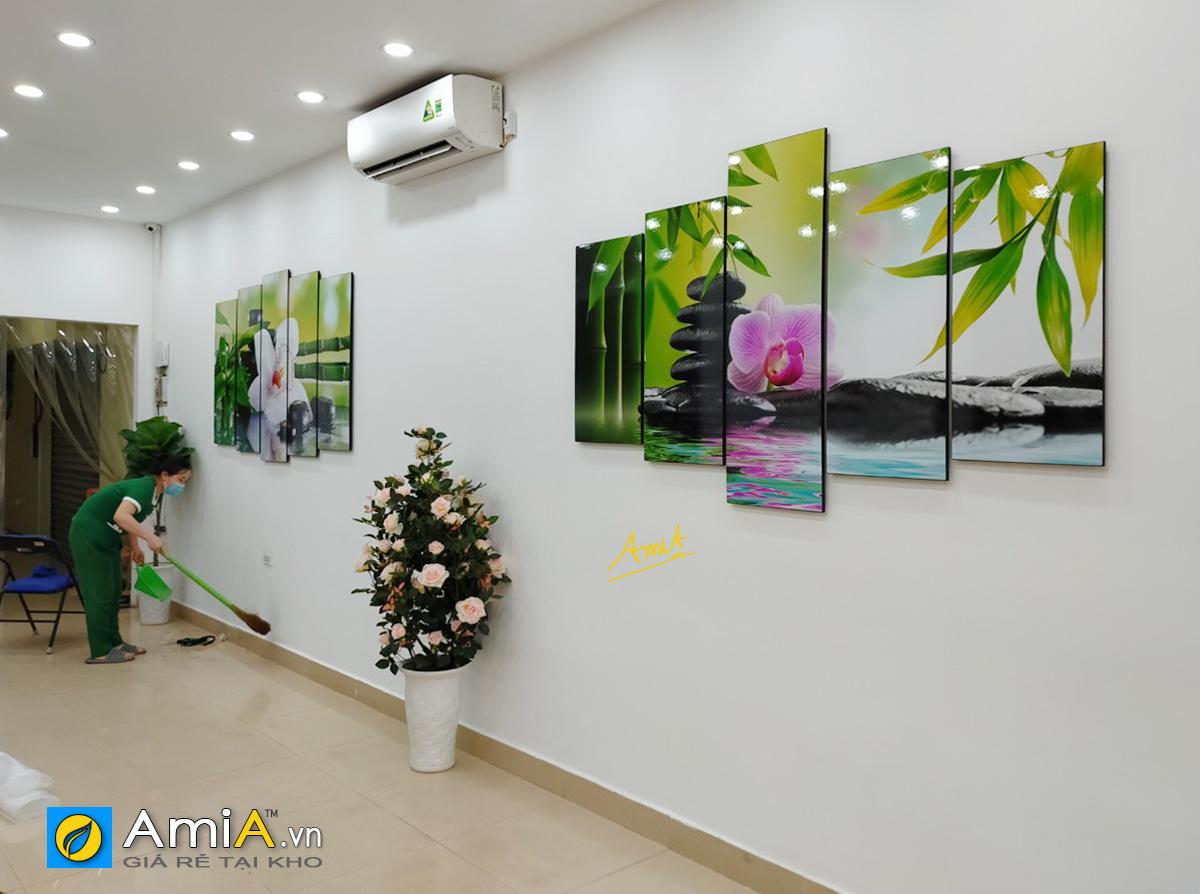 Hình ảnh Tranh hoa lan đá treo tường spa đặt làm cỡ lớn mã 942