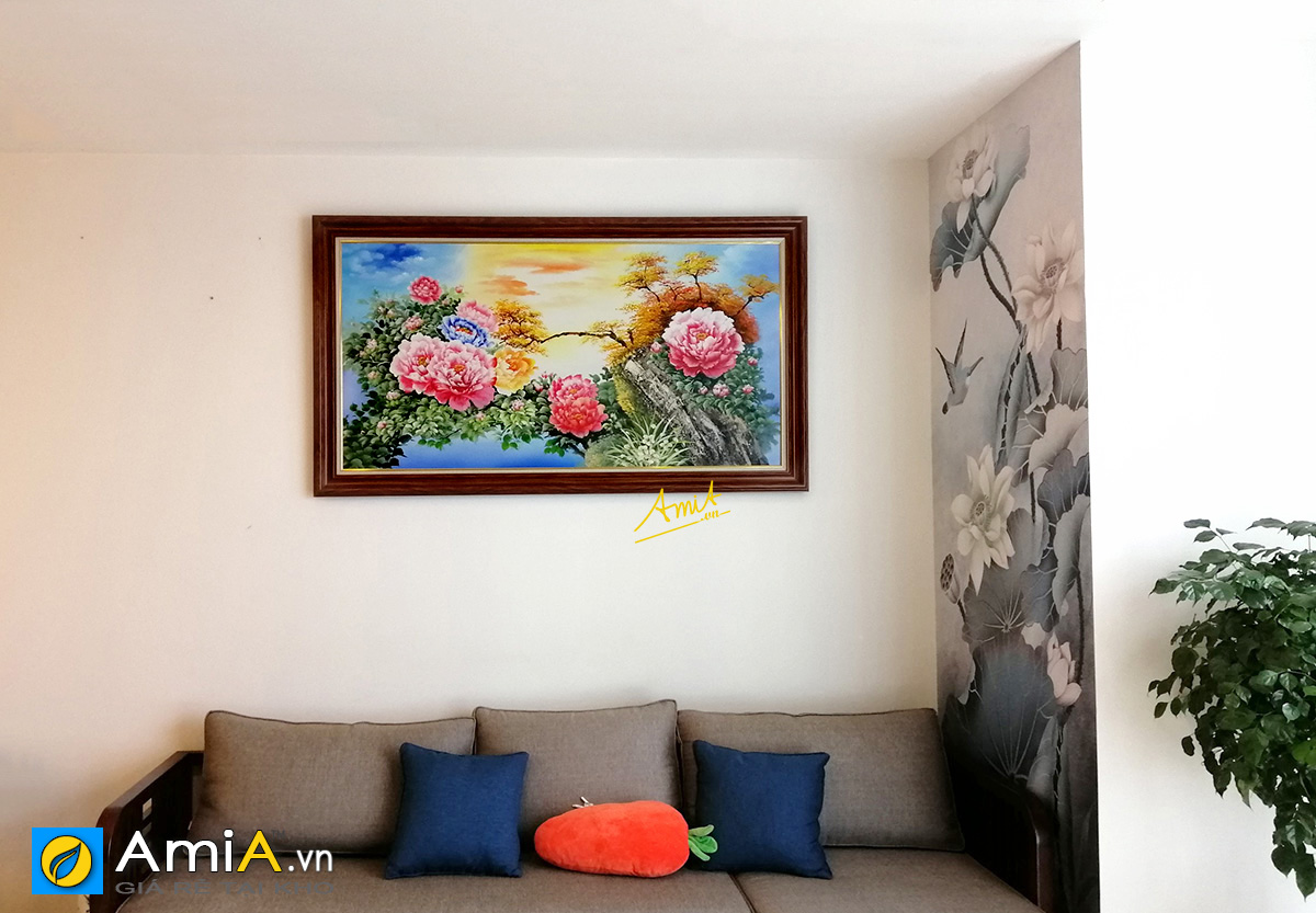 Hình ảnh Tranh hoa mẫu đơn phong thủy treo tường hút tài lộc