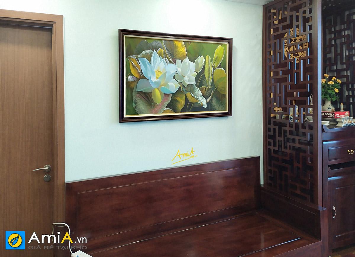 Hình ảnh Tranh hoa sen trắng vẽ sơn dầu khổ lớn treo phòng khách mã TSD 522