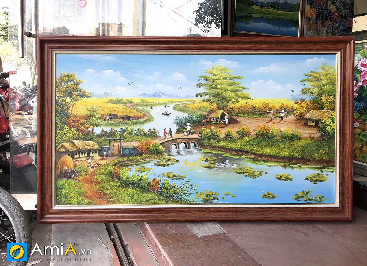 Hình ảnh Tranh khổ lớn chủ đề phong cảnh làng quê treo tường đẹp TSD 555