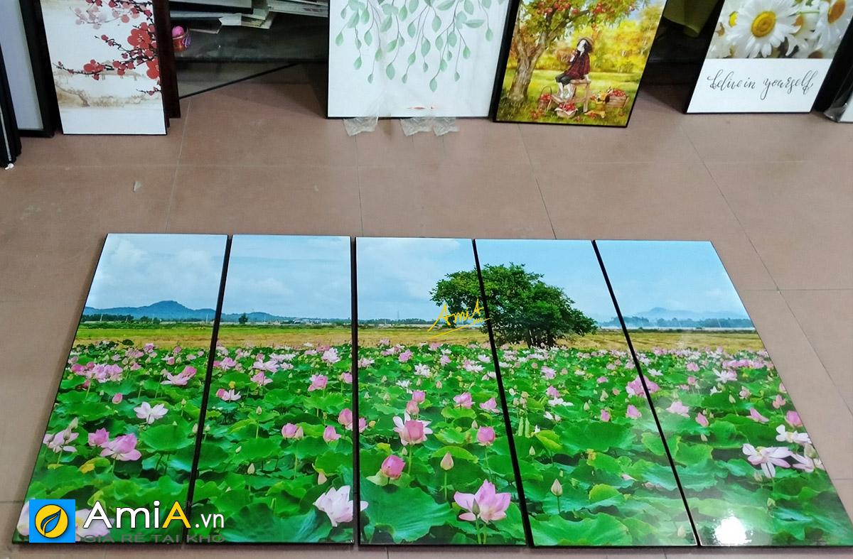 Hình ảnh Tranh khổ lớn in ép gỗ ghép bộ 5 tấm treo tường đẹp mã 402
