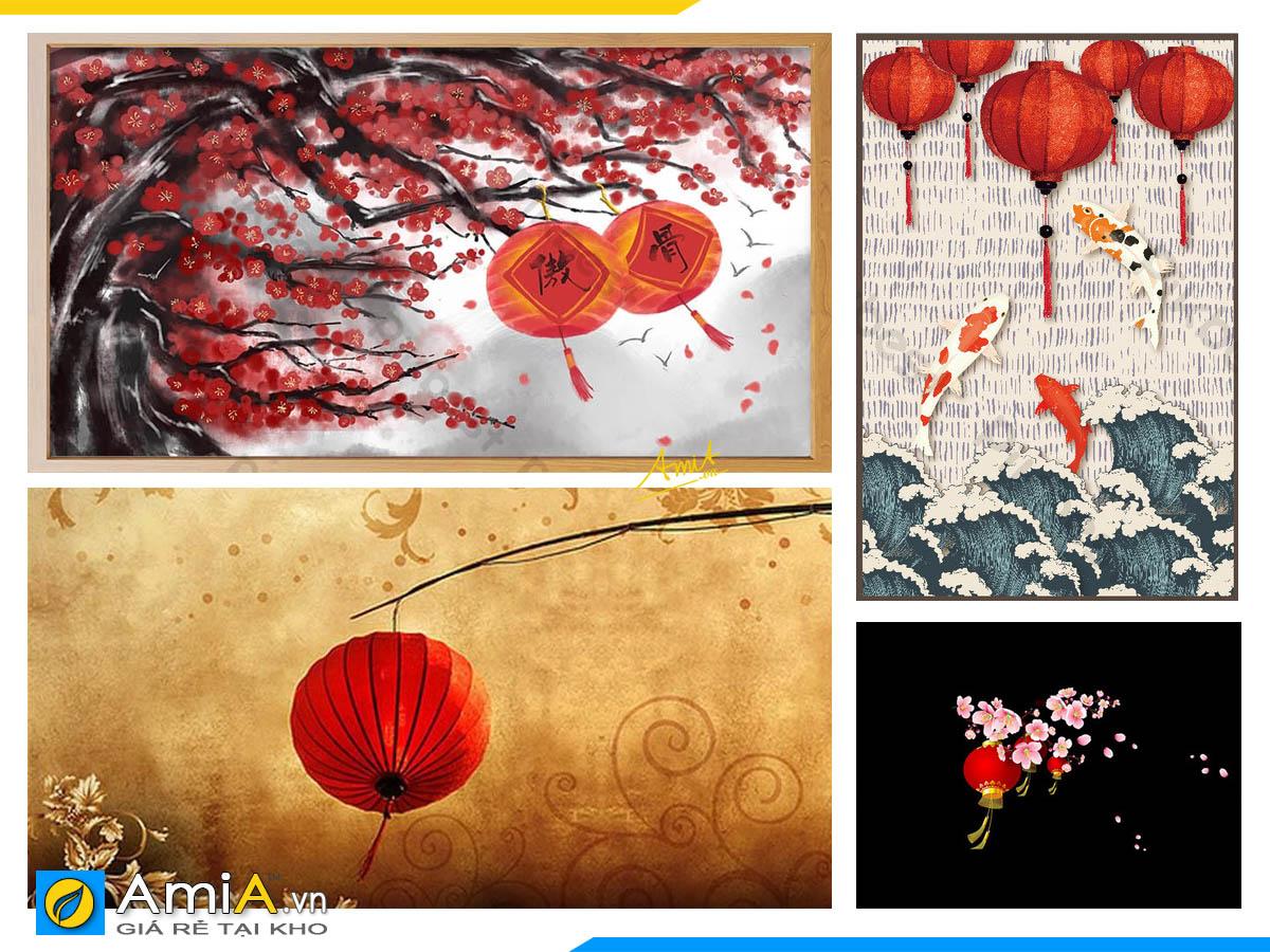Hình ảnh Những mẫu tranh lồng đèn đỏ phong thủy tốt về đường con cái