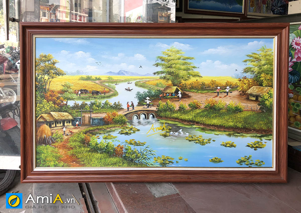 Hình ảnh Tranh phong cảnh làng quê Việt Nam vẽ sơn dầu mã TSD 555