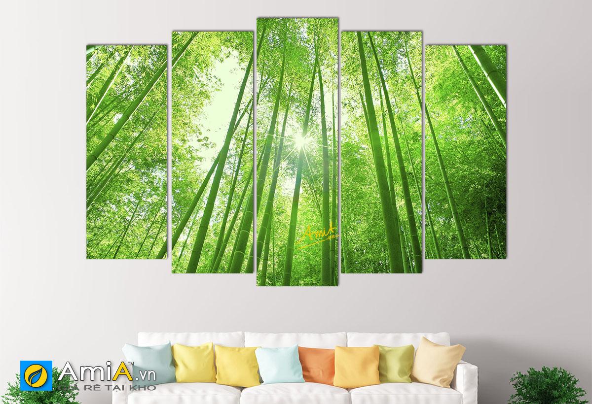 Hình ảnh Tranh phong thủy cây tre cây trúc cầu sức khỏe bình an