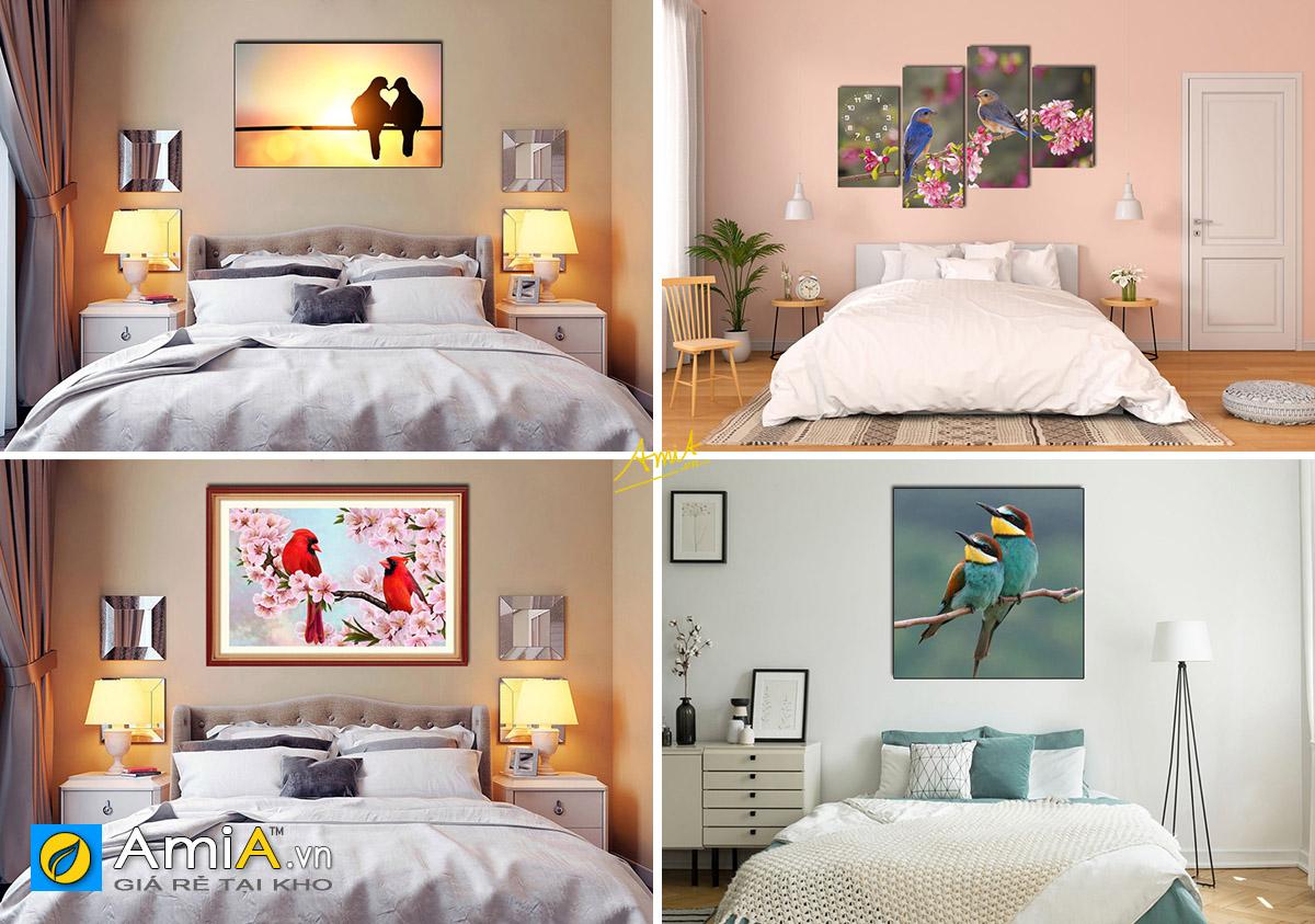 Hình ảnh Tranh phong thủy đôi chim treo tường đẹp ý nghĩa