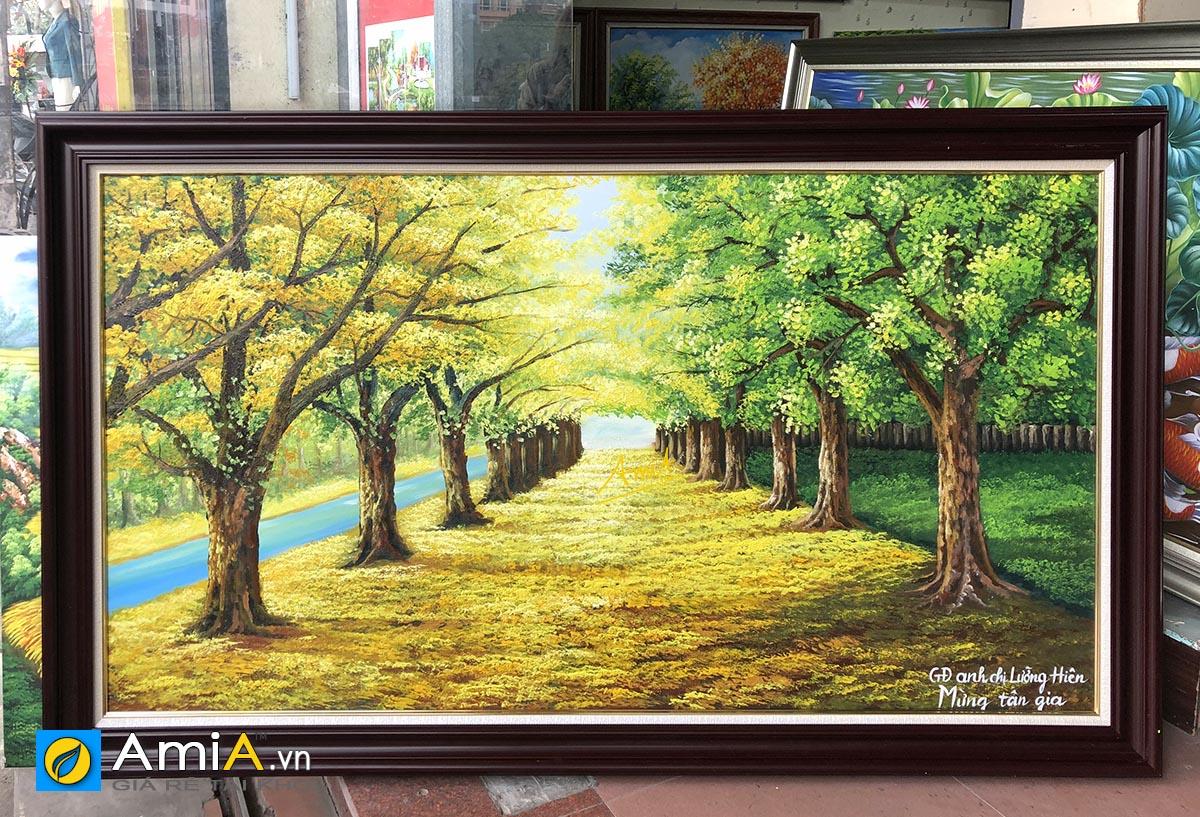 Hình ảnh Tranh sơn dầu hàng cây đẹp mừng tân gia nhà mới mã TSD 383