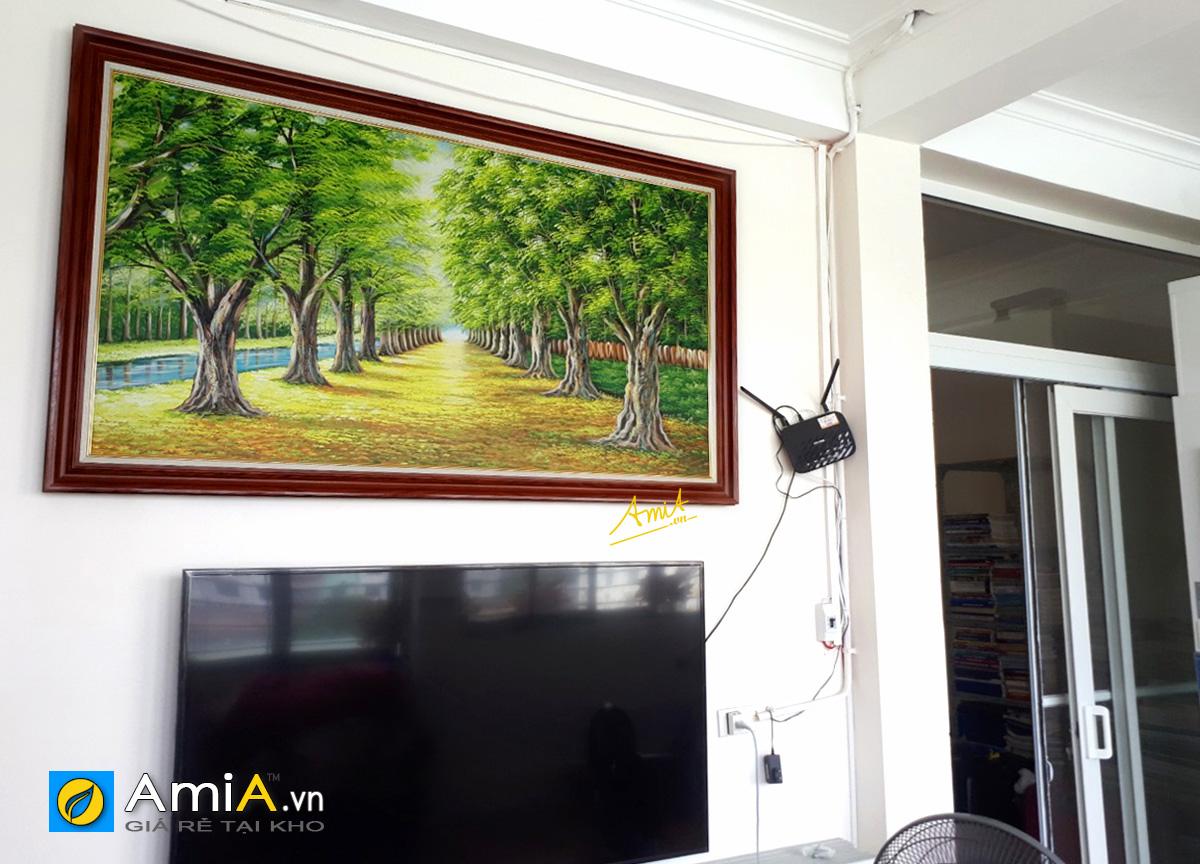 Hình ảnh Tranh sơn dầu hàng cây khổ lớn treo tường phòng khách mã TSD 383