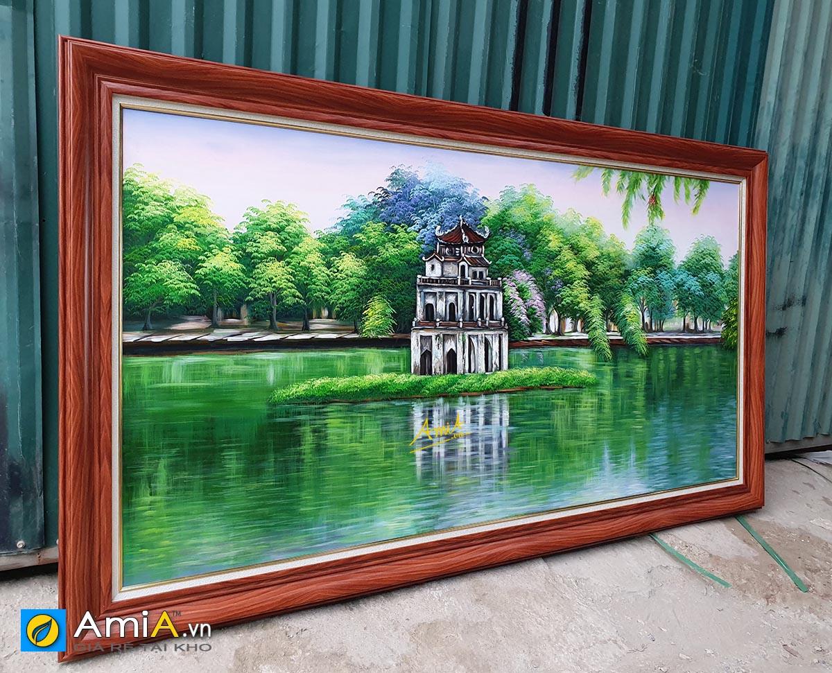 Hình ảnh Tranh sơn dầu Hồ Gươm Hà Nội đẹp tuyệt vời mã TSD 556