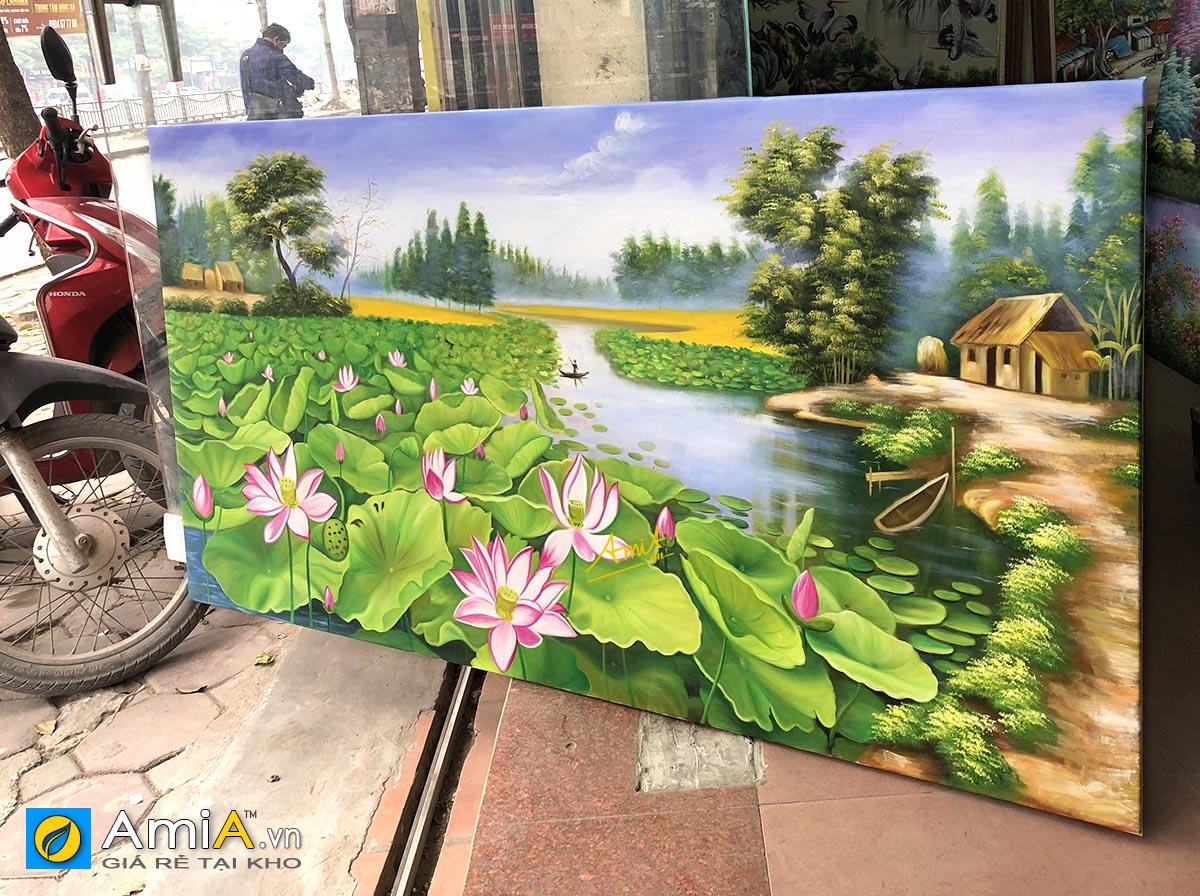 Hình ảnh Tranh sơn dầu phong cảnh hồ sen khổ lớn treo tường đẹp mã TSD 432