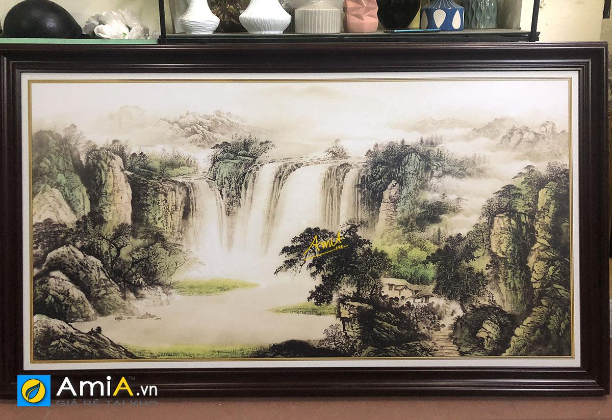 Hình ảnh Bức tranh sơn thủy khổ lớn đặt làm theo yêu cầu riêng tại AmiA
