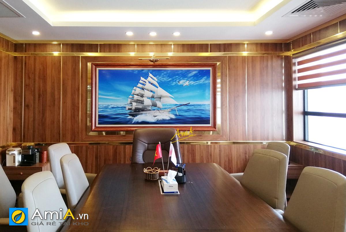Hình ảnh Tranh thuyền biển kích thước lớn treo phòng làm việc sang trọng mã 1892
