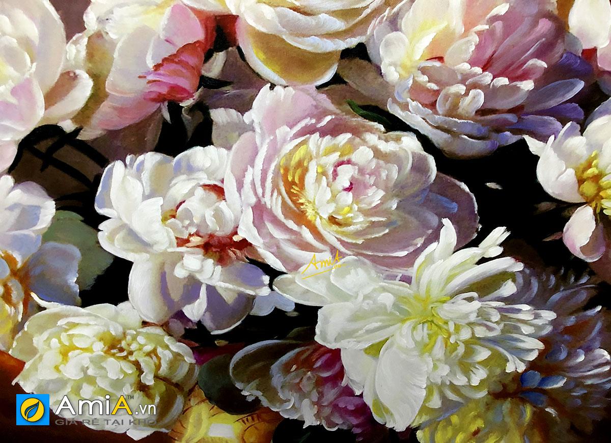 Hình ảnh Tranh vẽ sơn dầu hoa mẫu đơn treo tường đẹp mã TSD MD001
