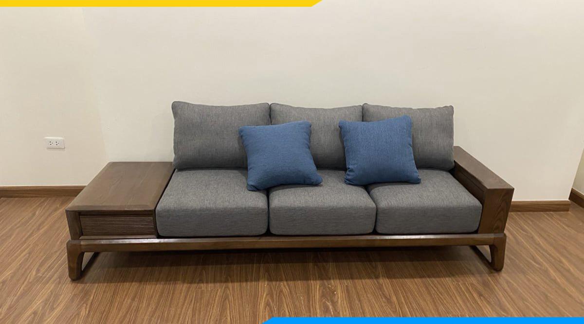 Bộ bàn ghế sofa văng với gối ôm màu xanh dương hiện đại giá rẻ