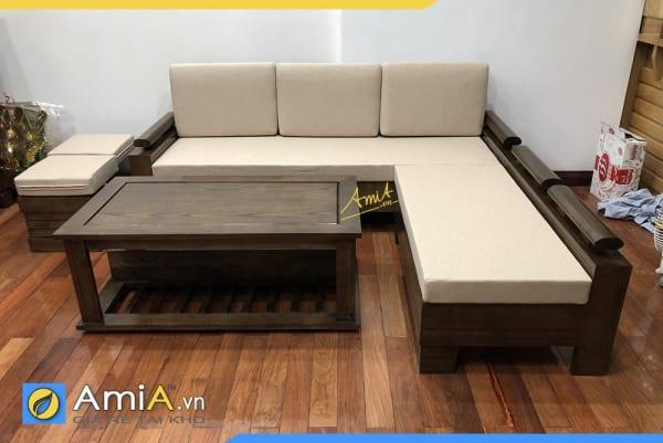 Mẫu sofa gỗ dạng góc chữ L sang trọng cho không gian kê mã SFG23221
