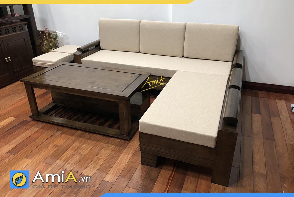 Mẫu sofa gỗ nhuộm màu Óc chó dạng góc chữ L sang trọng cho không gian kê
