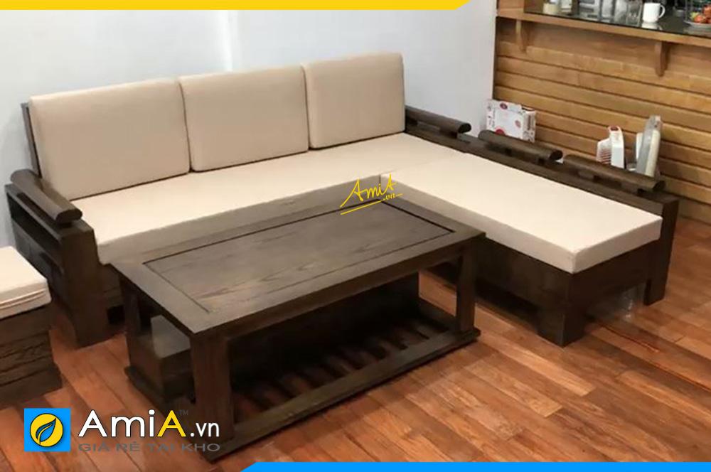 Mẫu sofa gỗ nhuộm màu Óc chó dạng góc chữ L sang trọng SFG23221
