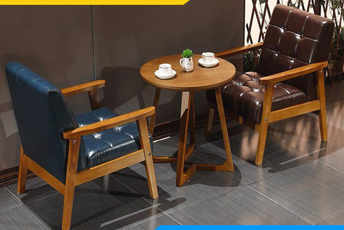 Kích thước sofa gỗ mini nhỏ gọn, thanh lịch riêng tư cho 2 người