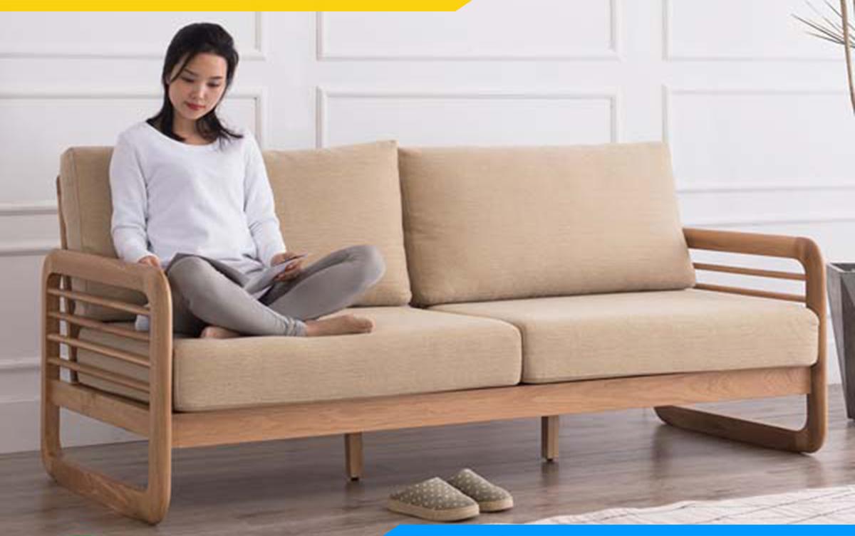 Ghế sofa gỗ văng 2 chỗ nhỏ gọn giá chỉ dưới 10 triệu